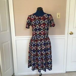 lularoe womens m amelia dress printed colorful blu